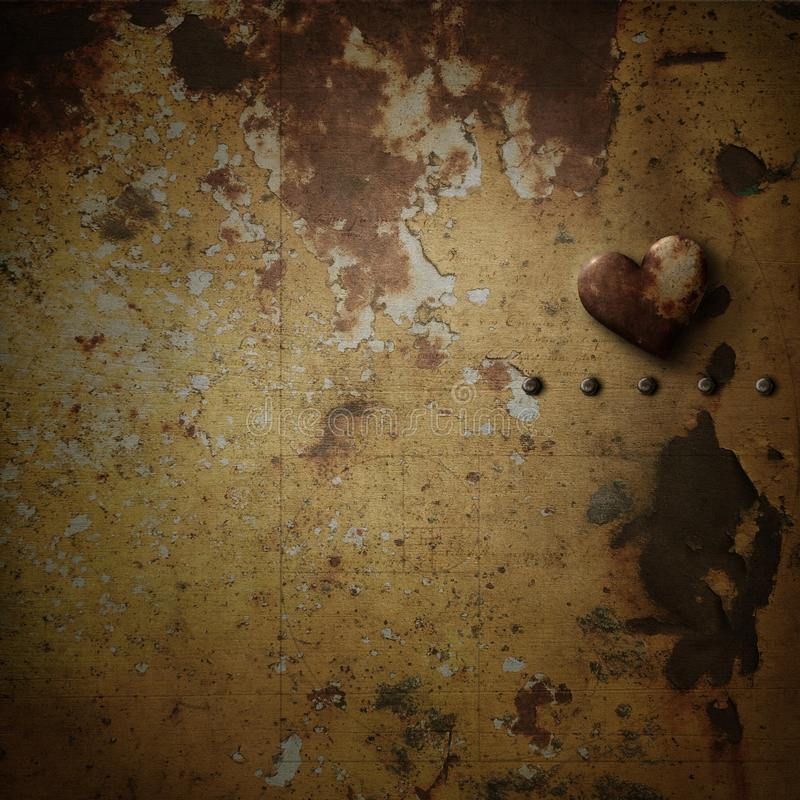 Rusty heart on rusty background stock illustration