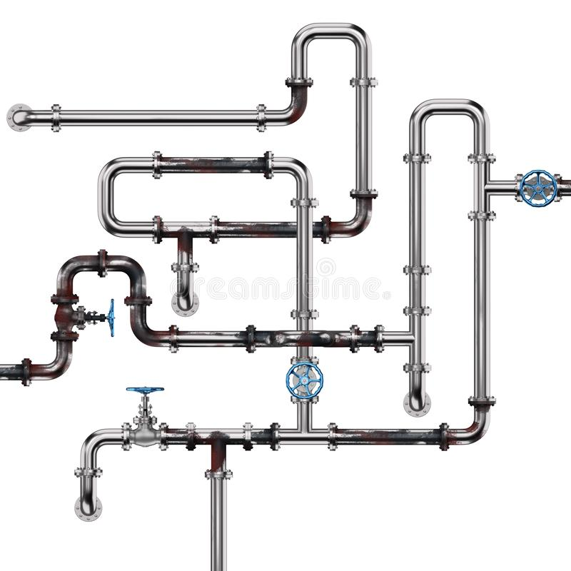 Rusty Industrial Pipes on White. Rusty industrial pipes isolated on white background. 3D illustration vector illustration