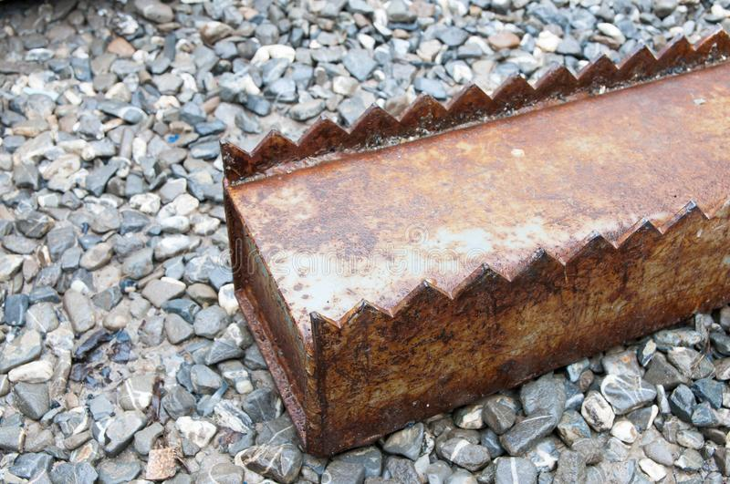 Rusty iron industrial sheet glass storage column royalty free stock images