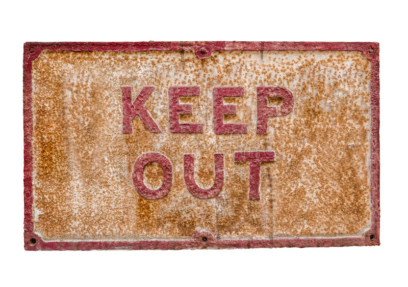 Rusty Keep Out Sign fotografia stock