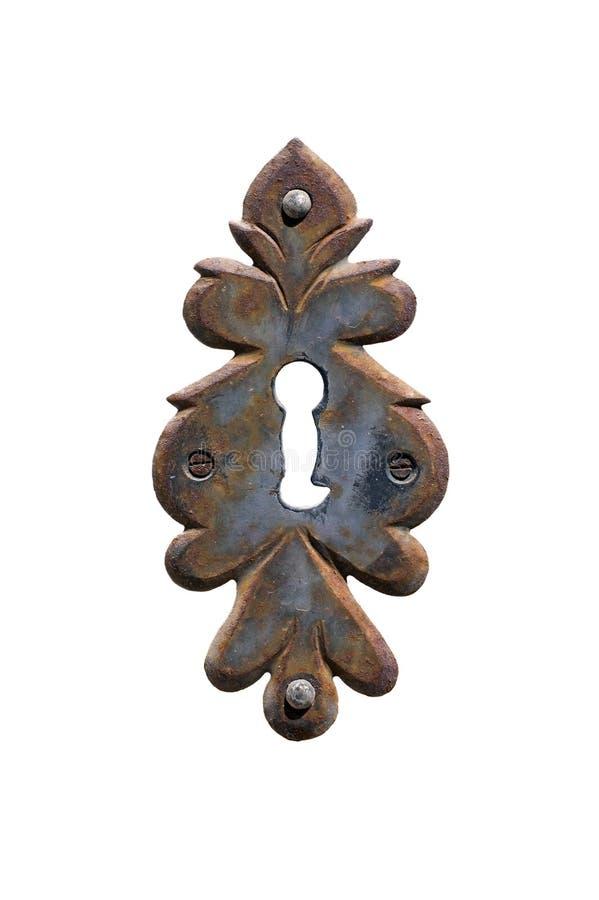 Rusty Keyhole Isolated ornamental imagen de archivo