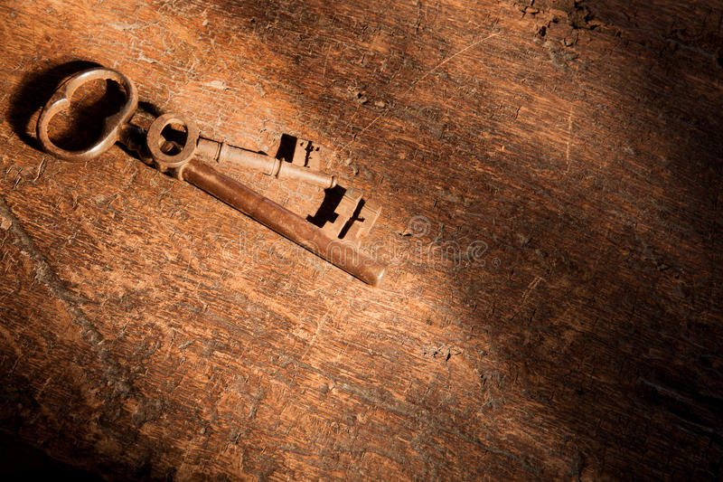 Rusty keys and dark shadows royalty free stock photos