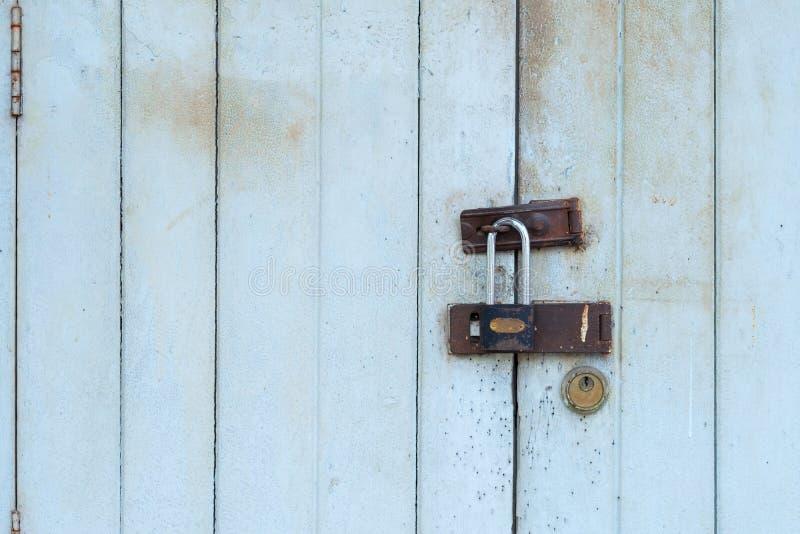 Rusty keys in old door lock, Closed Old vintage wood Door stock images