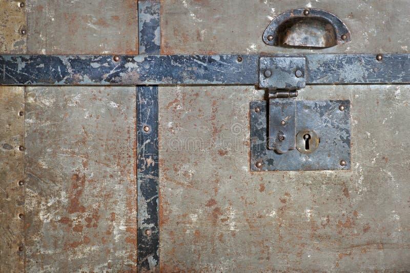 Rusty lock on chest stock photos