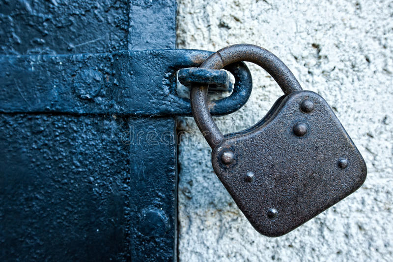 Rusty Lock on Iron Door royalty free stock photos