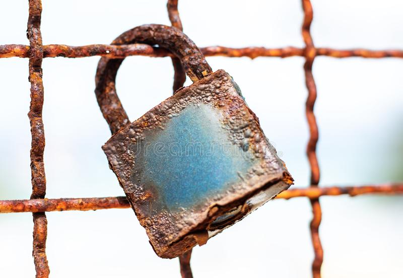 Rusty lock. Closeup Old rusty Love Lock royalty free stock image