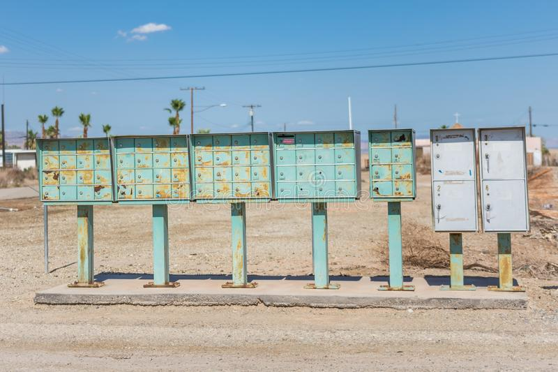Rusty mailboxes in the deserted community of Bombay Beach California, near the Salton Sea royalty free stock photo