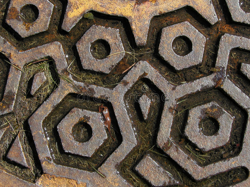 Download Rusty Manhole stock image. Image of water, grunge, hexagon - 23683