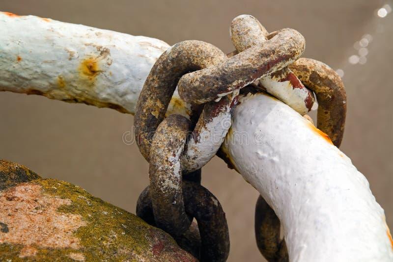 Rusty marine chain. Detail royalty free stock photos