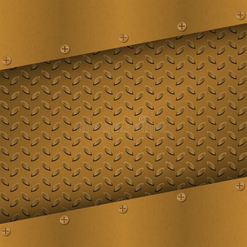 Rusty Metal Background med plattan och nitar metallisk textur för grunge Mässing förkopprar den latticed mallen vektor illustrationer