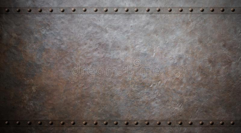 Rusty metal background with rivets 3d illustration royalty free illustration