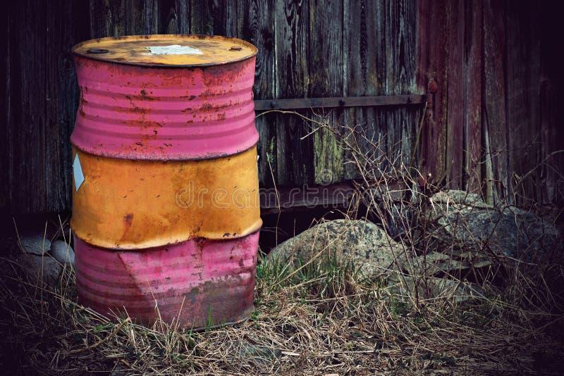 Rusty metal barrel stock photo