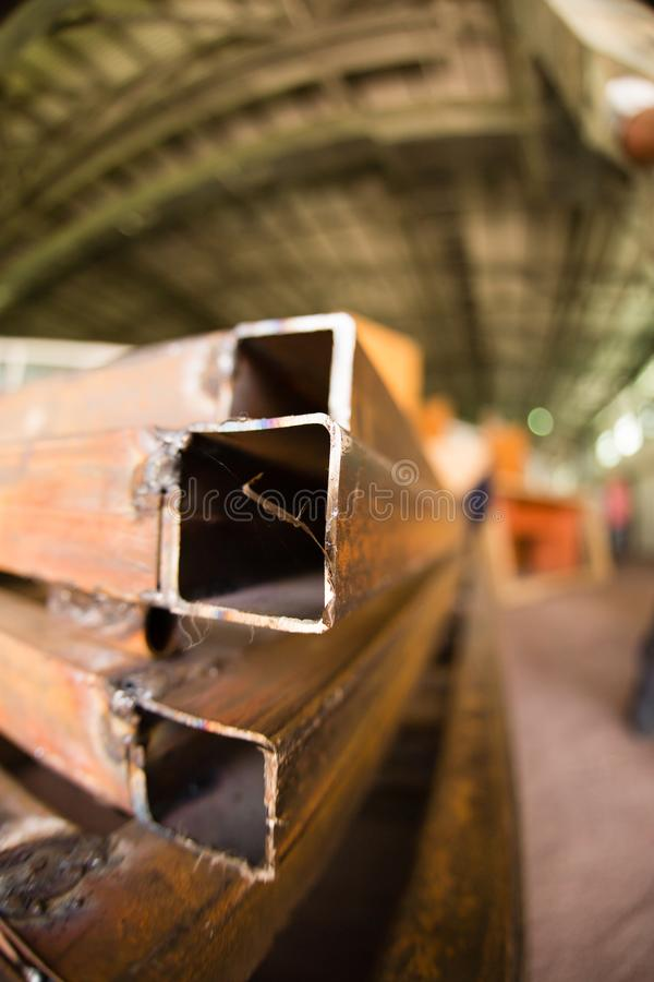 Rusty metal corners in the factory. As a background stock photography