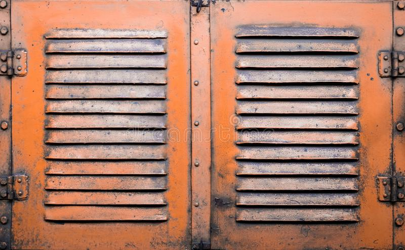 Rusty metal doors - industrial furniture, vintage style. Usty metal doors stock photo