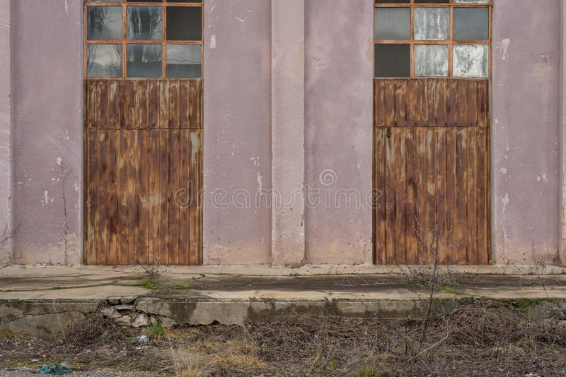Rusty metal doors. Picture of a Two Rusty metal doors royalty free stock photos