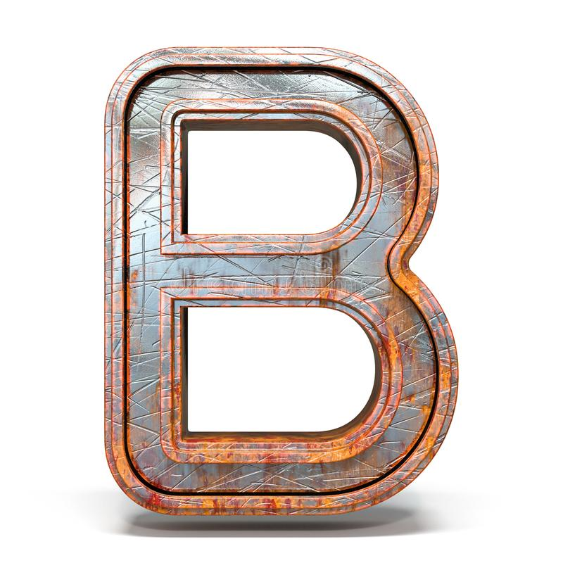 Free Rusty Metal Font Letter B 3D Royalty Free Stock Photography - 146972697