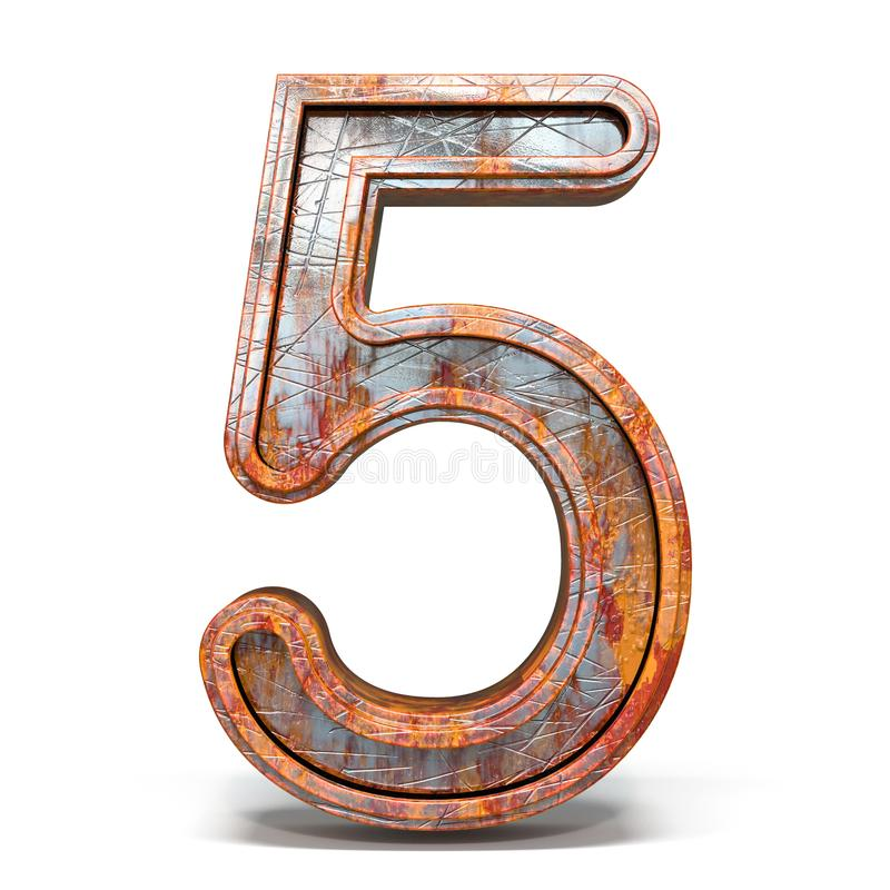 Rusty metal font Number 5 FIVE 3D royalty free illustration