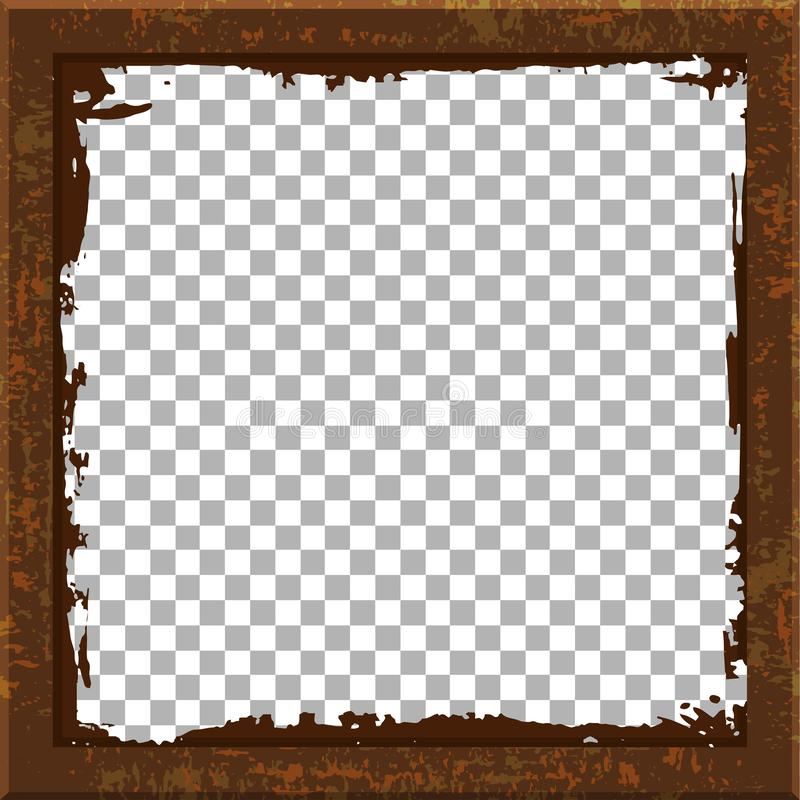 Rusty metal frame, insert with blank space for image, transparent background, grunge template stock illustration