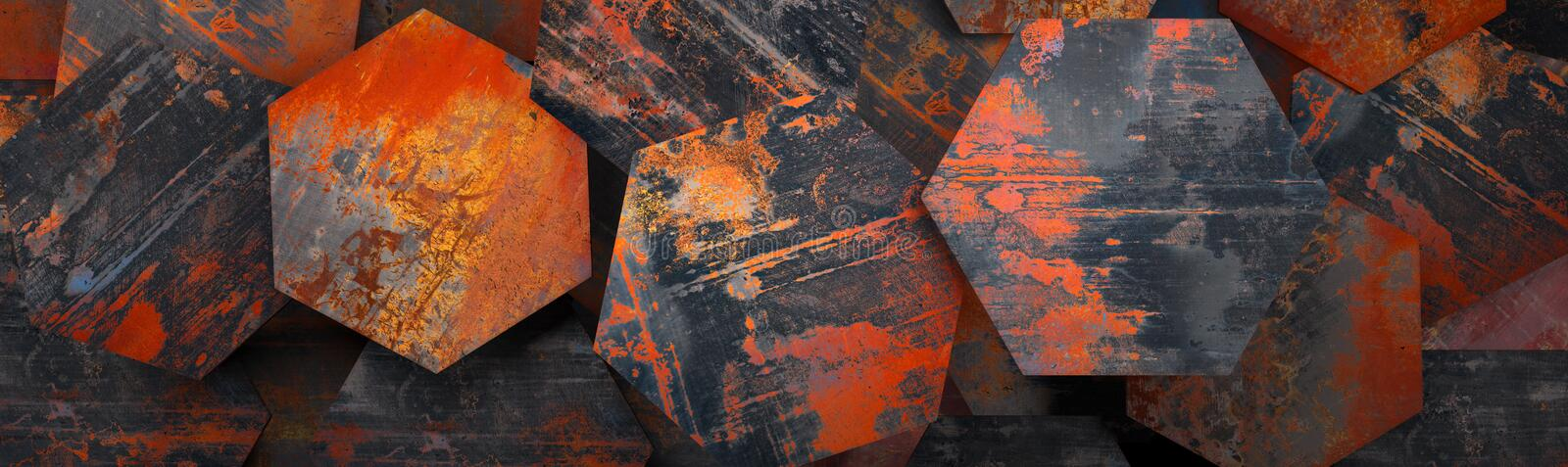 Rusty Metal Hexagon Tiles Background (Website Head) - 3D Rendering. A 3D rusty metal hexagon tiles as a background (can be used as a website head vector illustration