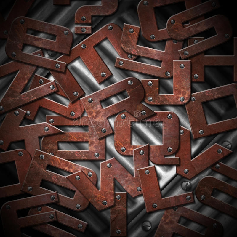 Rusty Metal Letters Background libre illustration