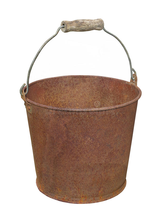 Rusty metal pail isolated. Old rusty metal pail with handle. Isolated on white royalty free stock image