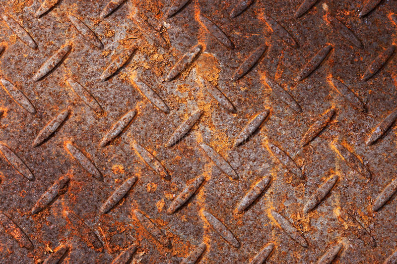 Rusty Metal Pattern Background. A very rust metal background with a stamped pattern stock image