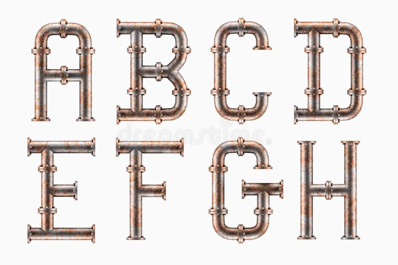 Rusty metal pipe alphabet vector illustration
