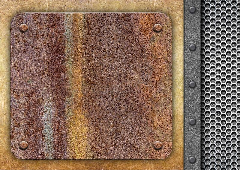 Rusty piece of iron, on the background metal mesh royalty free stock photography
