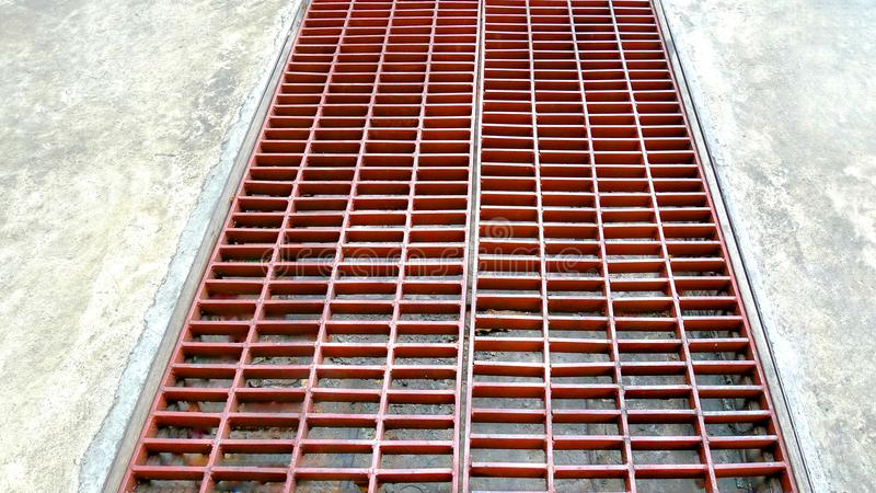 Rusty Metal Steel Grating on Street. Perspective Rusty Metal Steel Grating on Street stock photography