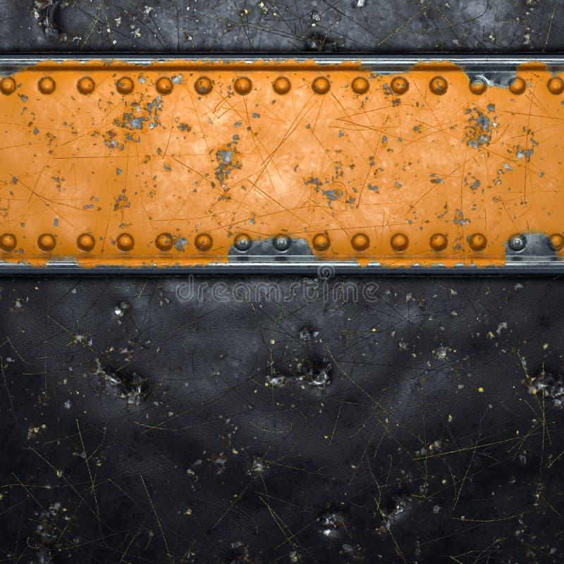 Rusty metal-strip met rivieren in het midden tegen zwarte achtergrond 3d stock foto