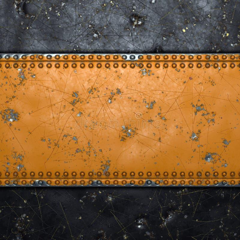 Rusty metal-strip met rivieren in het midden tegen zwarte achtergrond 3d stock afbeelding
