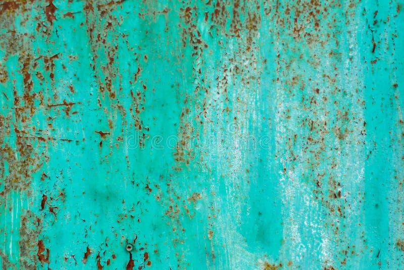 Rusty metal tekstury i turkusowa farba obrazy stock