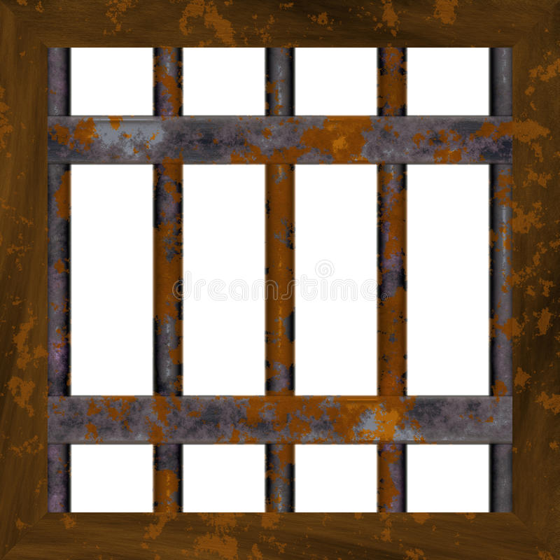 Rusty metal window frame stock illustration