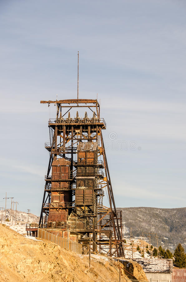 Rusty Mining Headframe. On a hill in Butte, Montana royalty free stock photo