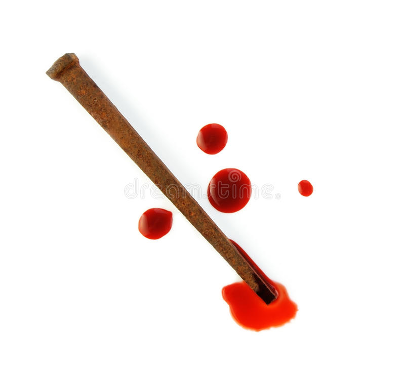 Rusty Nail And Blood Drops Stock Photo