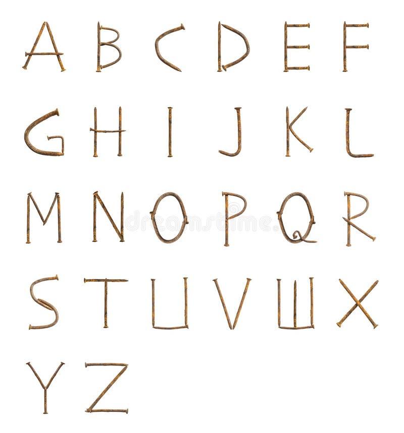 Rusty nails fonts royalty free stock image
