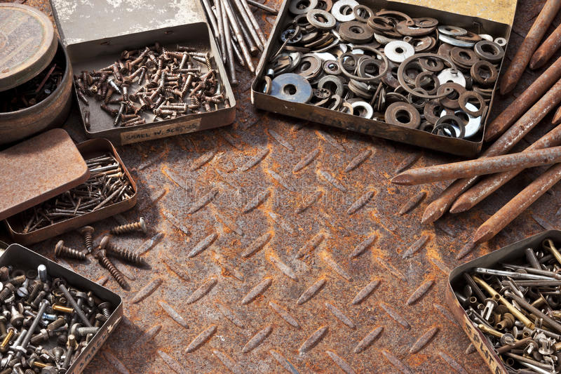 Rusty Nails Screws Background imagens de stock royalty free