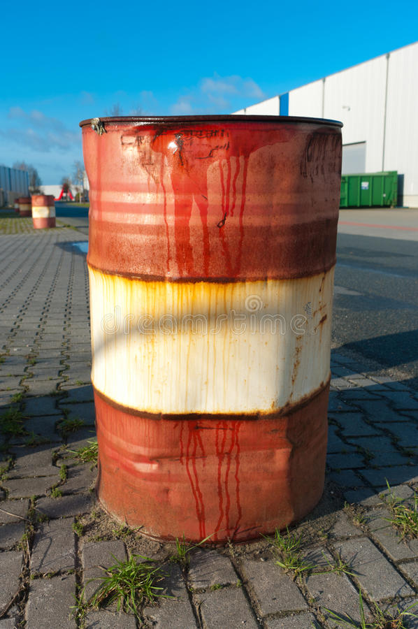 Rusty oil barrel stock photos