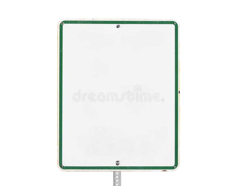 Rusty Old Blank White Sign with Green Trim Isolated royalty free stock photography