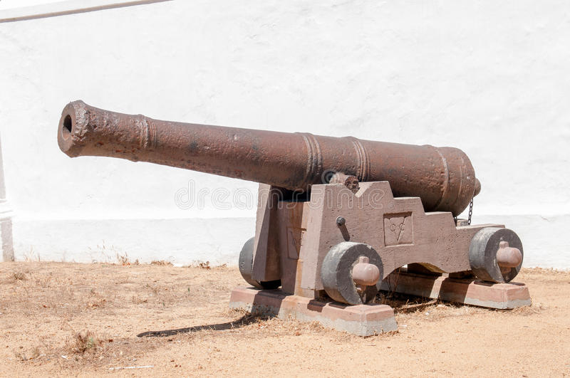 Rusty old cannon at the historic Powder Magazine in Stellenbosch stock photos