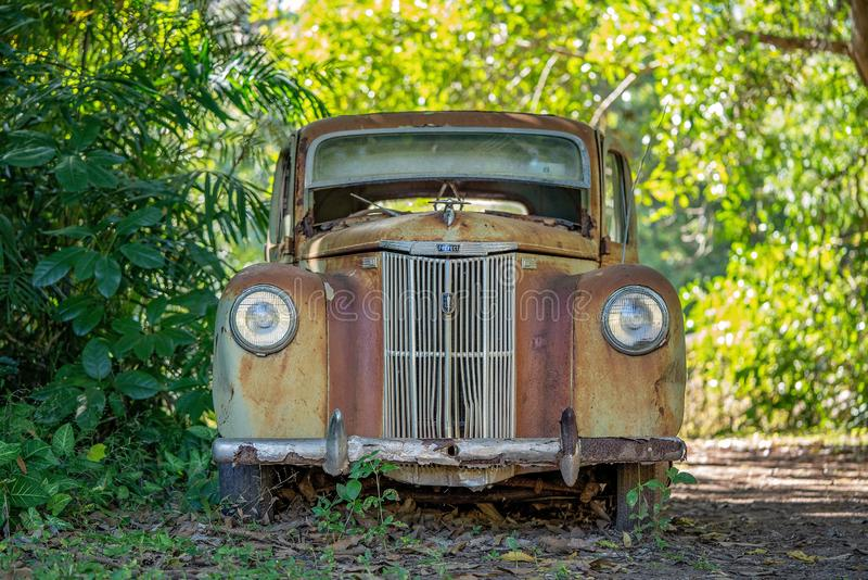 Rusty Old Car Abandoned In een Bos stock foto's