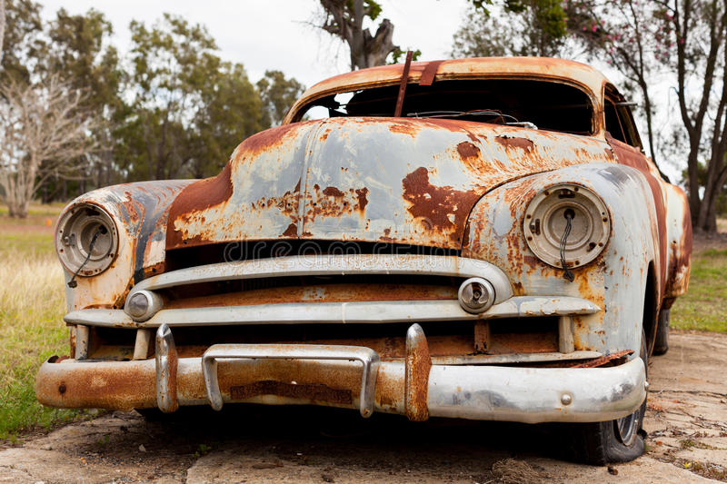 Rusty old car. Rusty old abandoned car in rural Australia royalty free stock photography