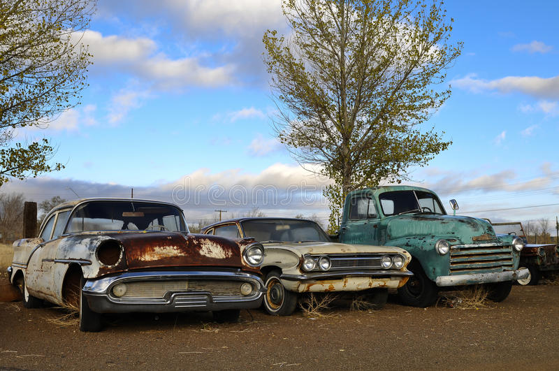 Rusty old classic cars royalty free stock images