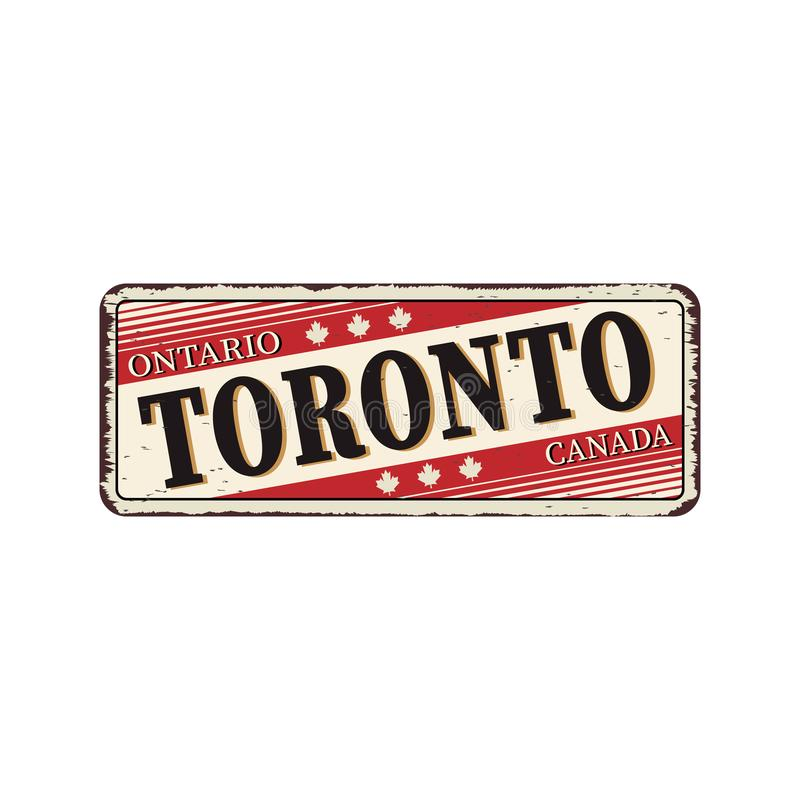Welcome to Toronto Canada rusty old enamel sign on white background. Rusty old enamel sign on white background stock illustration