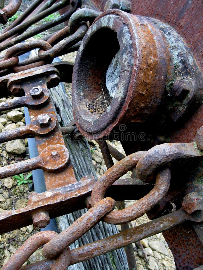 Rusty old headlight of a steam engine royalty free stock image
