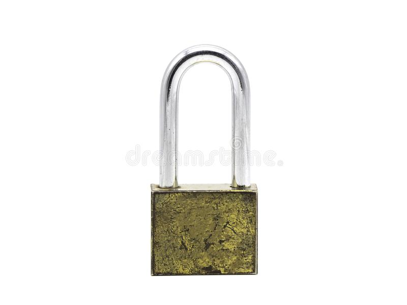 A rusty and old lock isolated on a white background.  royalty free stock image