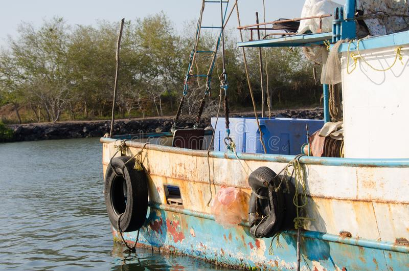 Rusty old Mexican fishing boat royalty free stock photography