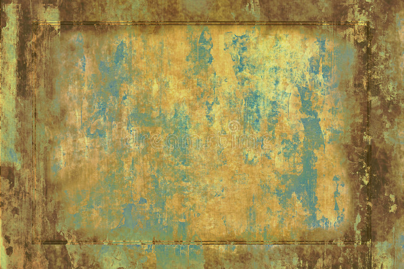 Rusty Old Plate. Vintage grunge of old worn metal plate or wall complete with rough texture, rust , and various earthy colors good for background stock illustration