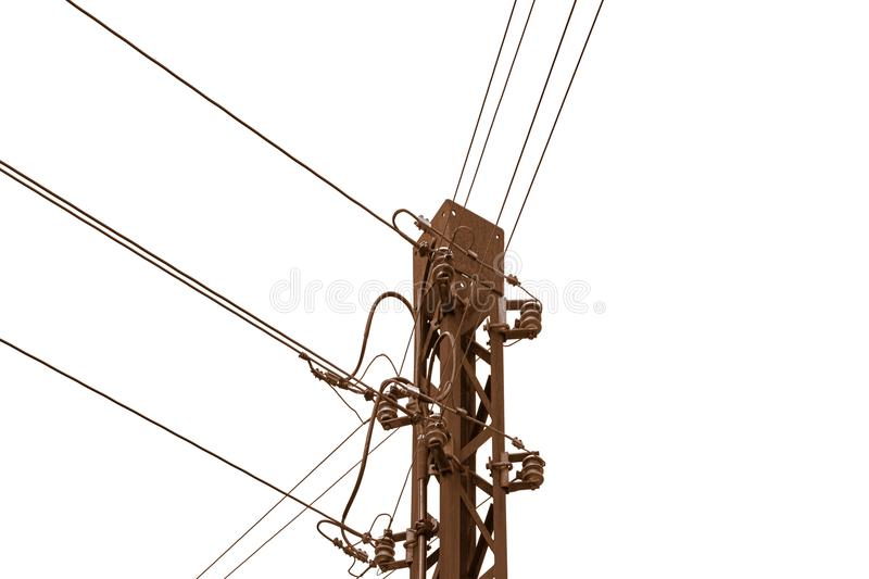 Rusty old telephone or telegraph mast. Rusty old telephone or telegraph pole in front of white background With copy space on the right-hand side stock photography