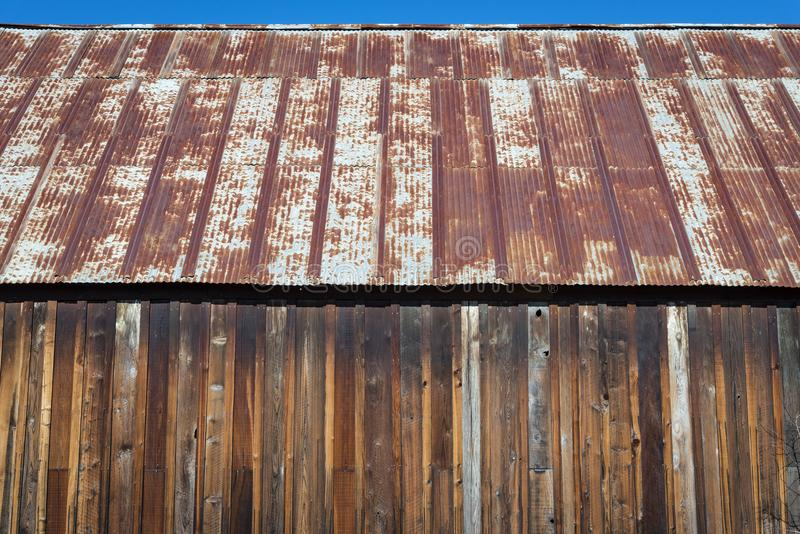 Rusty old tin roof royalty free stock photo